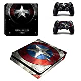 Cosines PS4 Slim Stickers Vinyl Decal Protective Console Skins Cover for Sony Playstation 4 Slim and 2 Controllers Captain Shield America Super Hero Avengers