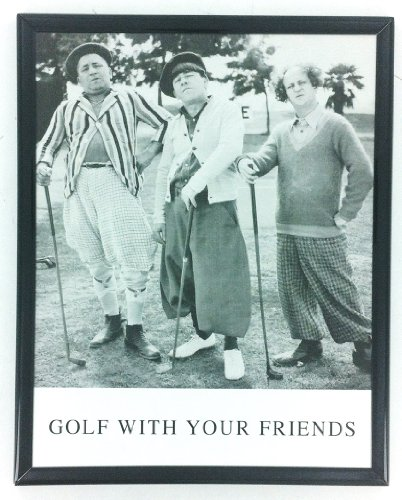 Golf Picture with 3 Stooges Black and White Framed Golf (Picture Stooges Golf Three)