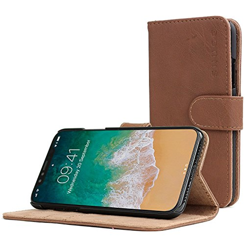 iPhone X Case, Snugg Distressed Brown Leather Flip Case [Card Slots] Executive Apple iPhone X Wallet Case Cover and Stand - Legacy Series (Distressed Leather Series)