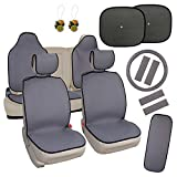 infant car seat cover patterns - Leader Accessories 17pcs Combo Pack Grey Durable Cloth Seat Cover for Car Quick Install Seat Cushion, Universal Fit, with Seat Belt Pads and Anti-slip Bakcing