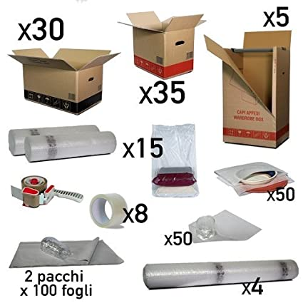 Kit Mudanza 160 m² Color cajas cartón, cinta, Accesorios para embalaje