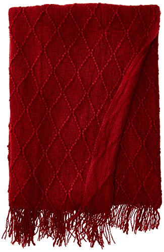 Burgundy Throw (Battilo Knit Diamond Pattern Decorative Throw Blanket, 50