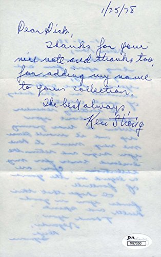 KEN STRONG SIGNED JSA HANDWRITTEN LETTER AUTHENTIC AUTOGRAPH