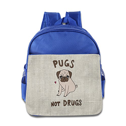 pugs-not-drugs-children-kids-lightweight-preschool-backpack-for-boys-and-girls-book-bag-royalblue