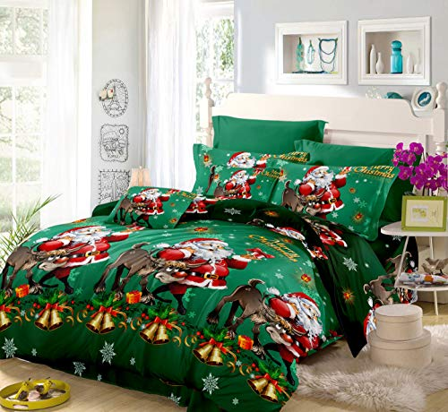 Oliven 4 Pieces 3D Christmas Bedding Set Twin Size Cartoon Santa Claus Duvet Cover Flat Sheet Standard Pillowcases-Green,Christmas Home Decor