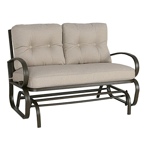 Patio Glider Bench Loveseat Outdoor Cushioed 2 Person Rocking Seating Patio Swing Chair, Beige