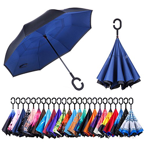 Newsight Reverse/Inverted Double-Layer Waterproof Straight Umbrella, Self-Standing & C-Shape Handle & Carrying Bag for Free Hands, Inside-Out Folding for Car Use (NY Indigo)