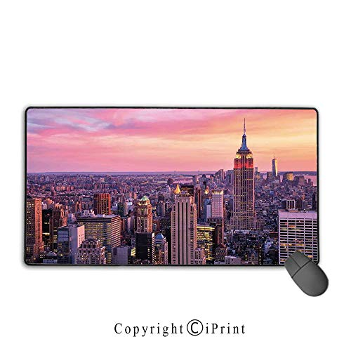 Stitched Edge Mouse pad,Cityscape,New York City Midtown with Empire State Building Sunset Business Center Rooftop Photo,Peach,Ideal for Desk Cover, Computer Keyboard, PC and -