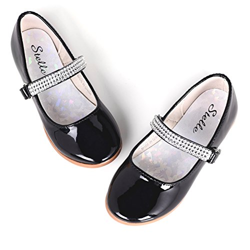 - STELLE Girls Mary Jane Shoes Slip-on Party Dress Flat for Kids Toddler (9MT, Black)