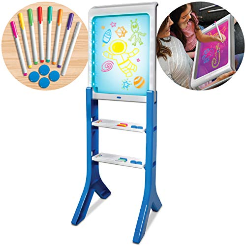 Discovery Kids LED Artist Easel with Removable Glow-in-The-Dark Portable Tablet, 8 Markers & 4 Magnets
