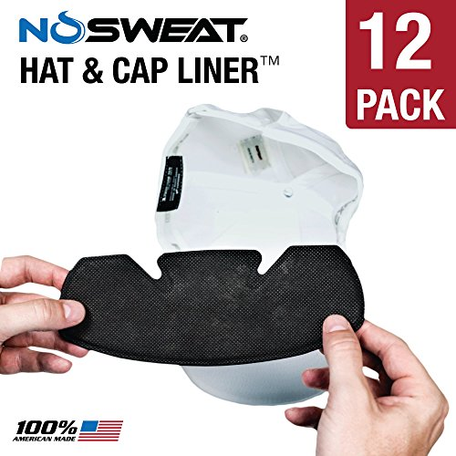 No Sweat Baseball Hat & Helmet Liner/Sweat Absorber - Prevent Sweat STAINS (Softball) (12 Pack)