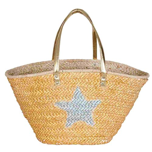 Clayre & Eef bag303Borsa Shopper Borsa da spiaggia cestino per la spesa cestino stella circa 68x 20x 32cm