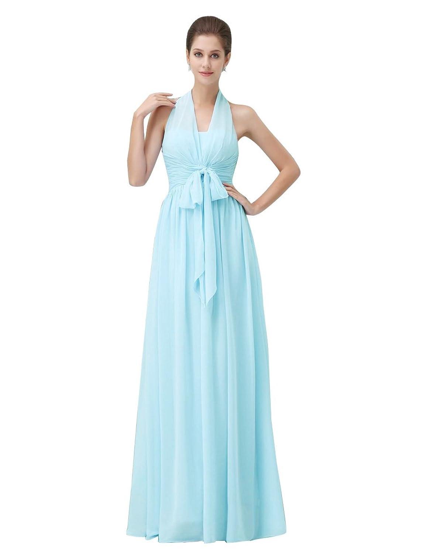 OKDRESS Women's Vintage Halter Ruched Long Chiffon Backless Prom Dress