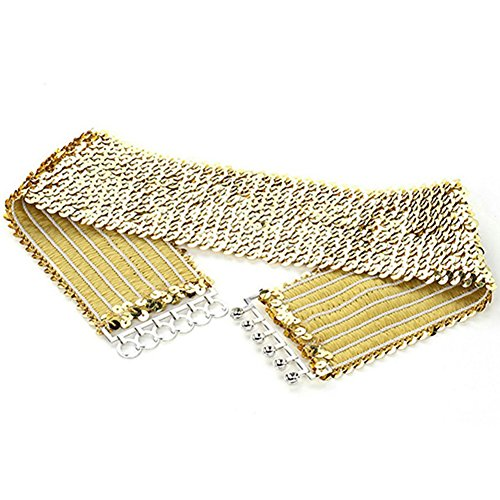 (Women Sparkling Sequins Wide Waist Belt Elastic Stretch Waistband Cinch Belt Strap Vintage Chunky Buckle Belts (Gold))