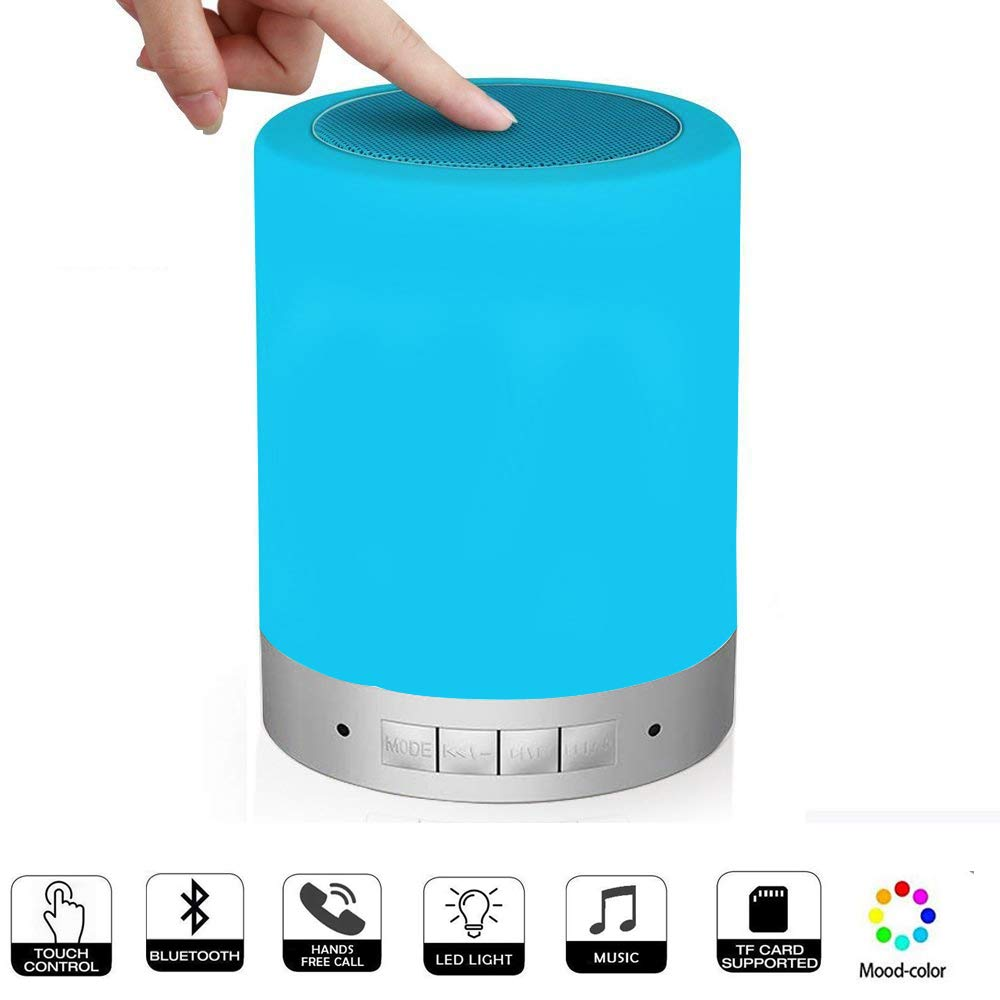 Amouhom Touch Bedside Lamp Night Light with Bluetooth Speaker Wireless Rechargeable LED Lamp & Touch Control Speaker TF Card/AUX-in Supported, Kids, Mom, Graduation Gifts.
