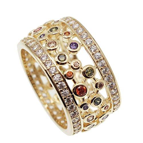 [해외]JINTOP 24K 옐로우 골드 웨딩 링젬스톤 가넷 페리도트 토파즈 자수정 자수정 모건트 선물 미국 사이즈 7 # 8 # 9 # (US 7#) / JINTOP 24K Yellow Gold Wedding RingGemstone Garnet Peridot Topaz Amethyst Morganite Gifts For Girls US Size 7# 8#...