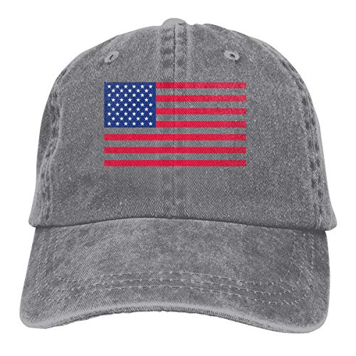 Goredi Free Printable-US Flag Mens Hat Baseball Caps Cowboy Hat Gray ()