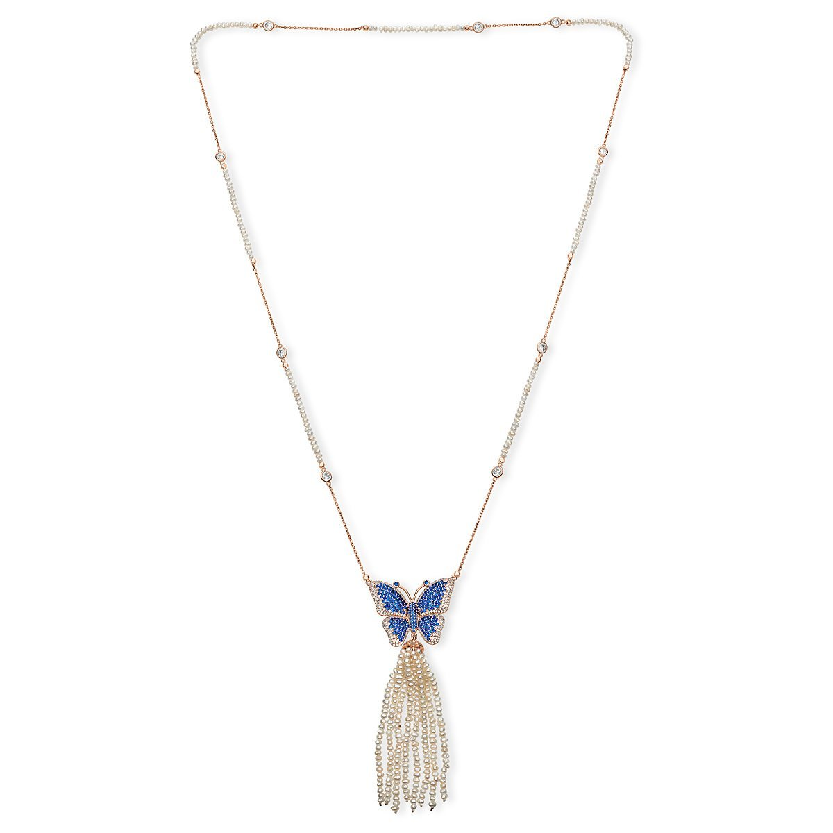 Rose Gold Plated Sterling Silver Butterfly With Fresh Water Of Pearl Tassel Necklace