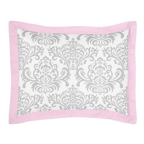 Sweet Jojo Designs 4-Piece Pink and Gray Elizabeth Childrens and Kids Bedding Girls Twin Set