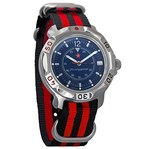 Vostok Komandirskie Dark-Blue Dial Army Mechanical Mens Military Commander Wrist Watch #811398 (black+red)