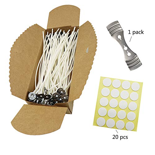 100 Piece 6 Inch Candle Wicks, 20 Stickers and 1 Wick Holders For DIY Candle Making By JIWINNER Candle Wick Box (6 INCH)
