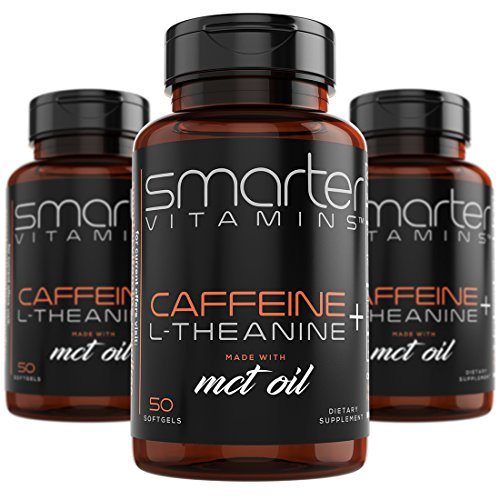 (3-Pack) 200mg Caffeine Pills with 100mg L-Theanine for Energy, Focus and Clarity + Coconut MCT Oil, Pre Workout, Nootropic Brain Booster, Extended Release Capsule