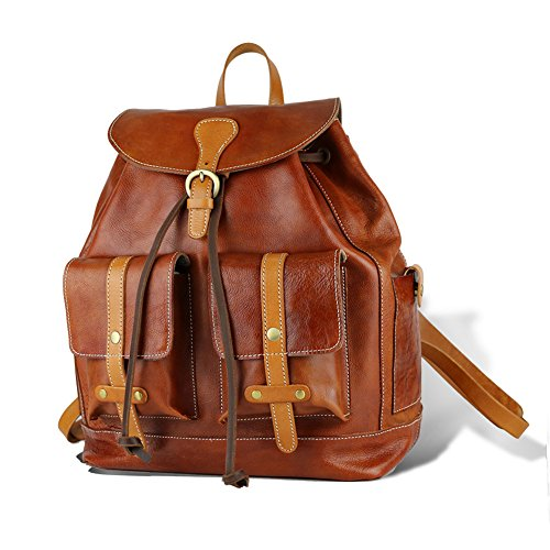 Leather Buckle Flap Rucksack Backpack Knapsack product image