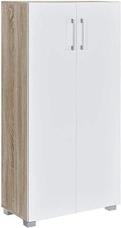 Zapatero o Armario de estilo nórdico en acabado Roble y puertas en blanco,Las medidas son 60 cm (anc