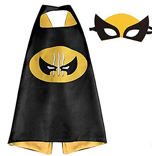 ERT13 Kids Dress up Comic Cartoon Superhero Costume with Satin Cape and Matching Felt Mask