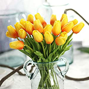 GSD2FF 30PCS/LOT pu Mini Tulip Flower Real Touch Wedding Flower Artificial Flower Silk Flower Home Decoration Hotel Party,Orange,30pcs 45