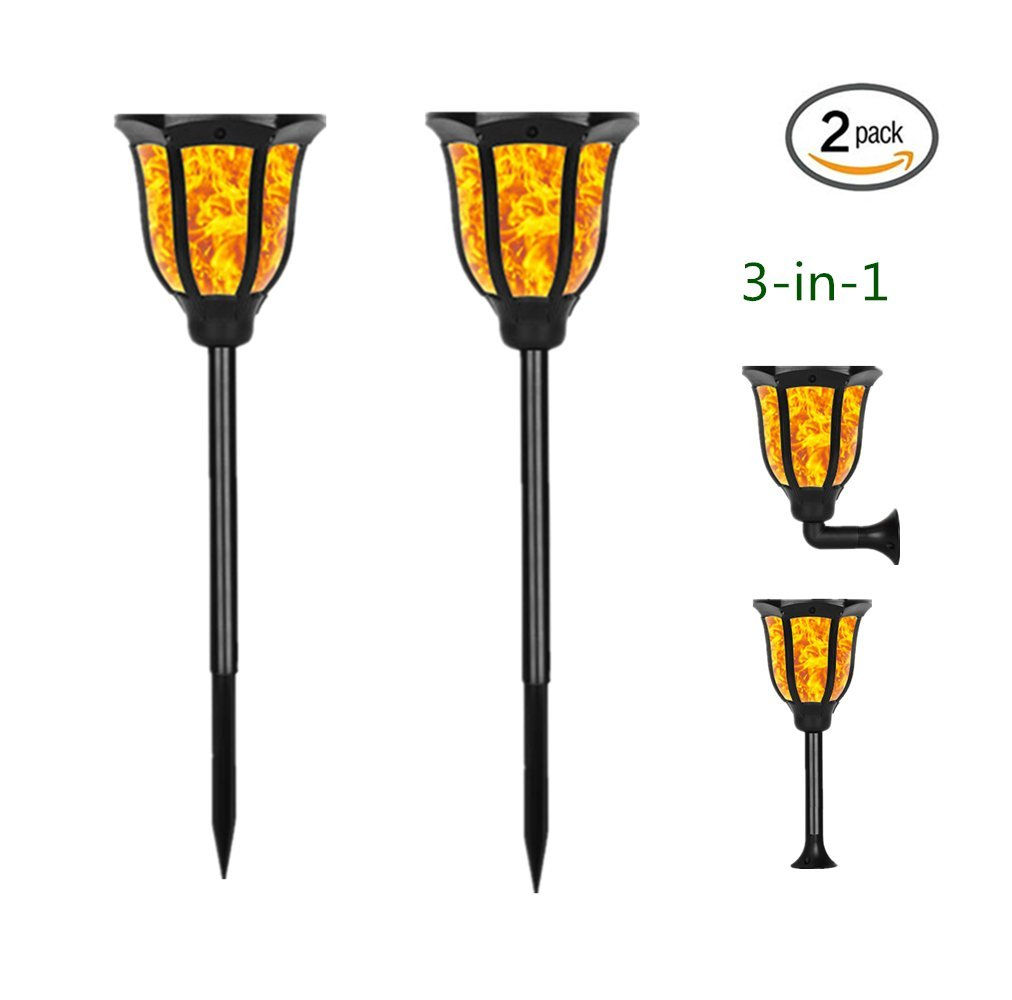 Sunklly Solar Lights 3-in-1 Solar Torches Lights with Flickering Flames Lighting Landscage Decoration Lighting for Garden Patio Porticus Yard Driveway (2 Pack)