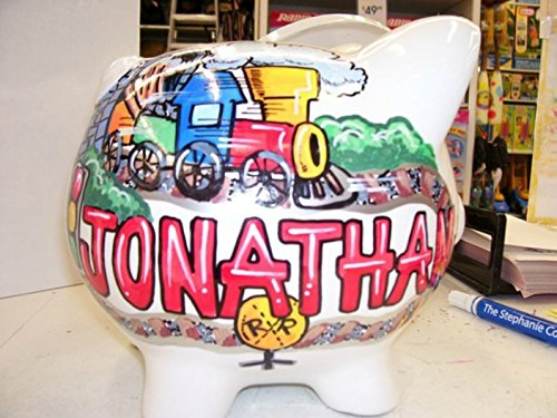 Train Design Piggy Bank Handpainted and Personalized by Stymiepie Studios