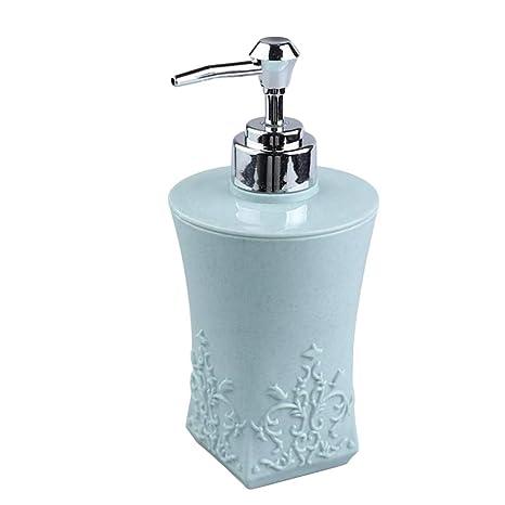BESTONZON Dispensador de jabón de Mano Cuadrado Tallado Ducha dispensador de jabón Botellas Crema loción dispensador