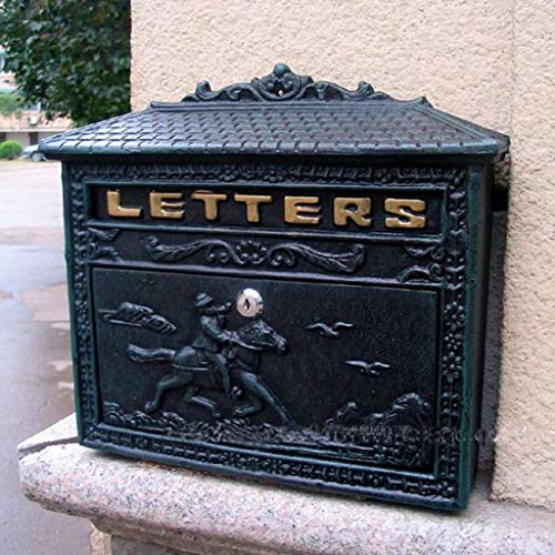 - Yxsd Antique Victorian Black Aluminium Wall Mounted Locking Letter Post Mail Box
