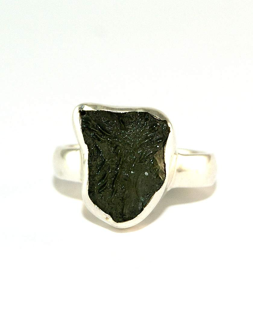 Moldavite Ring - Raw Rough - Polished Sterling Silver - R1805