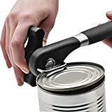 Lingstar Food-Safe Stainless Steel Manual Professional Smooth Edge Safety Can Opener with Easy Turn Knob, Soft Comfortable Ergonomically Designed Anti Slip Grips Handle - Black