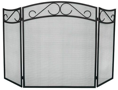 Black Sparkguard (Bakaware Black 3 Fold Fire Guard Screen Panel Folding Fireplace Sparkguard by S&MC Homeware)