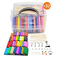 [Storage Box] 32 Blocks Polymer Clay Set, Colorful DIY Soft Craft Oven Bake Modelling Clay Kit, with Tools and Accessories