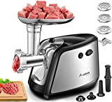 Electric Meat Grinder, Aobosi 3-IN-1 Stainless Steel Meat Mincer & Sausage Stuffer, 3 Grinding Plates, Sausage & Kubbe Kits Included | Food Grade Materials |1200W Max| Home Kitchen & Commercial Use