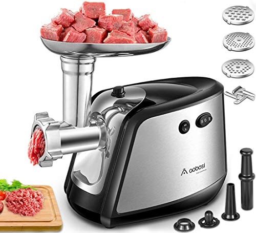 Electric Meat Grinder, Aobosi 3-IN-1 Stainless Steel Meat Mincer & Sausage...