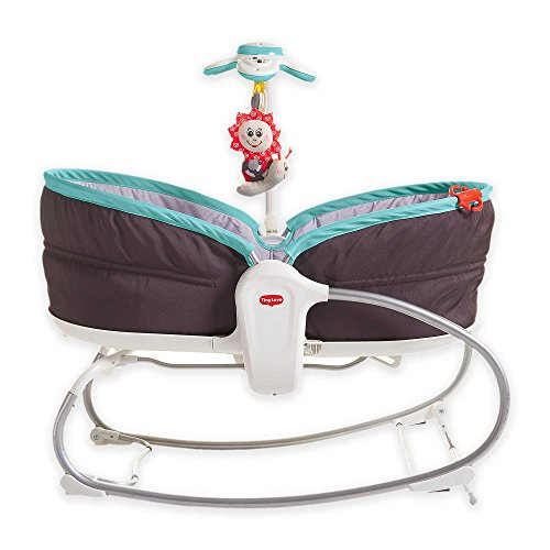 (Tiny Love 3-in-1 Bouncer Converts to Crib and Rocker Napper, Includes Sounds in Brown/Turquoise)
