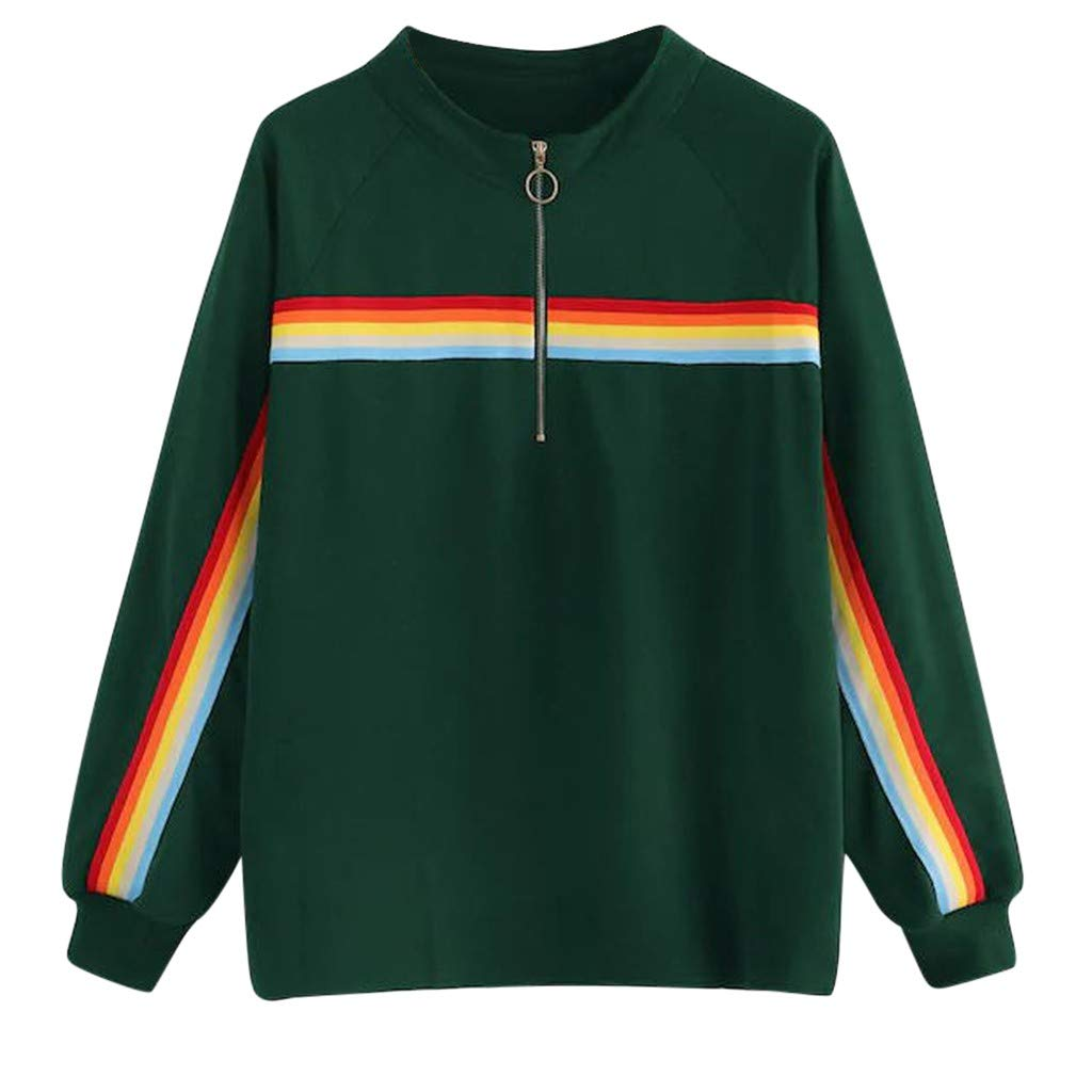 WYTong Women Casual Blouse Long Sleeve Rainbow Stripes Sport Sweatershirt Casual Pullover Tops(Green,S) by WYTong