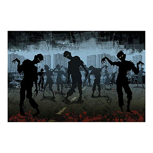 Fun Express - Zombies Take Over Backdrop Banner (3pc) for Halloween - Party Decor - Wall Decor - Preprinted Backdrops - Halloween - 3 Pieces -