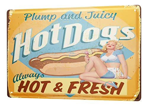 LEotiE SINCE 2004 Tin Sign Metal Plate Decorative Sign Home Decor Plaques Retro Wall Sign Hot Dogs Always hot and Fresh Metal Plate 8X12