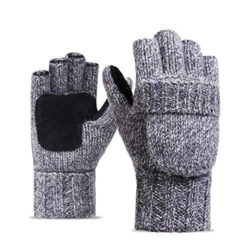 Men Women Warm Winter Gloves,Alalaso Wool Knitting Half-finger Outdoor Cycling Mittens(Light gray)