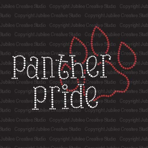 (JCS Rhinestones Panther Pride Iron On Rhinestone Crystal T-Shirt Transfer)