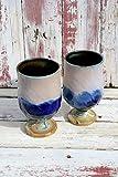 Set of Two Lavender Matt and Blue Wine Glasses #03, Ceramic Wine Glasses, Ceramic Wine Chalice, Handmade Wine Goblets