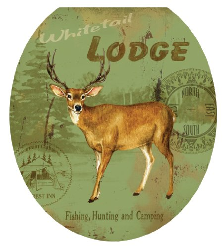 Toilet Tattoos, Toilet Seat Cover Decal,Deer Lodge, Size Round/standard (Deer Toilet Tattoo)