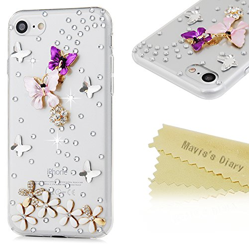 Phone Case Compatible with iPhone 7 and iPhone 8 - Maviss Diary 3D Handmade Bling Diamonds Colorful Butterfly with Flowers Lovely Glitter Rhinestone Gems Sparkle Crystal Full Around Protective Cover