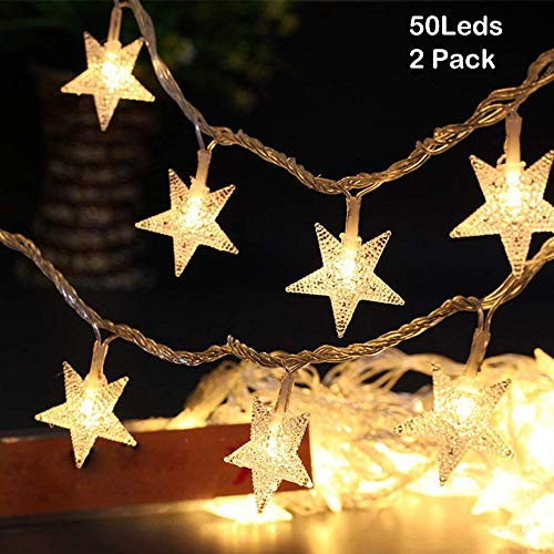 OATSBASF Star String Lights, Battery Operated Fairy Lights 50 LED 2 Pack Christmas Decorations,Indoor,Outdoor,Wedding,New Year,Patio,Garden Decoration(Warm White,17ft)